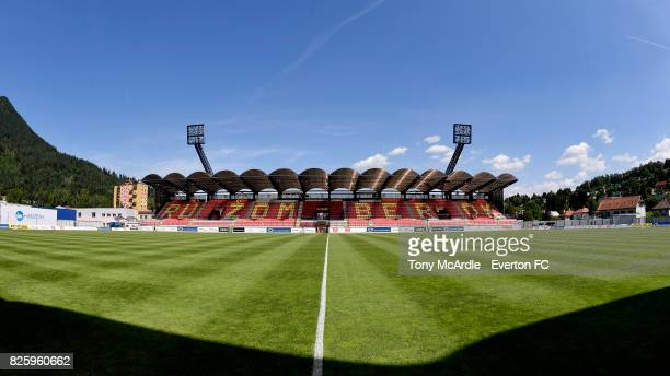 A general view of the stadium before UEFA Europa League Qualifier match between MFK Ruzomberok and Everton on August 3 2017 in Ruzomberok Slovakia