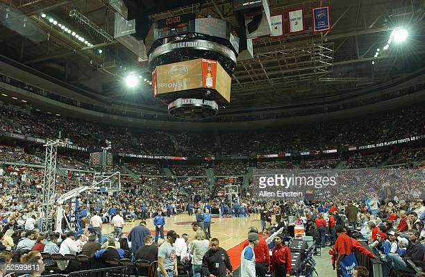 General view of the stadium during a break in play between the Detroit Pistons and the Indiana Pacers on March 25, 2005 during the NBA game at the...