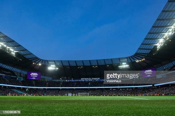 General view of the stadium during a VAR decision during the Premier League match between Manchester City and Crystal Palace at Etihad Stadium on...