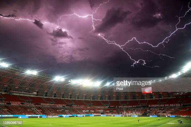General view of the stadium during an electric storm prior to a round of sixteen first leg match between Internacional and Boca Juniors as part of...