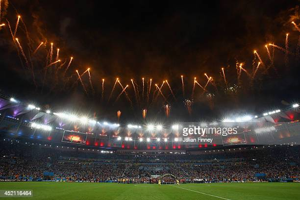 General view of the stadium during fireworks in the 2014 FIFA World Cup Brazil Final match between Germany and Argentina at Maracana on July 13, 2014...