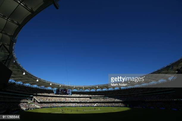 General view of the stadium during game five of the One Day International match between Australia and England at Perth Stadium on January 28, 2018 in...