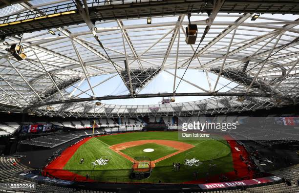 A general view of the stadium during previews ahead of the MLB London Series games between Boston Red Sox and New York Yankees at London Stadium on...