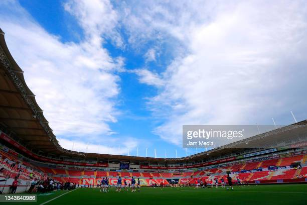 General view of the stadium during the 11th round match between Necaxa and Club Tijuana as part of the Torneo Grita Mexico A21 Liga MX at Victoria...
