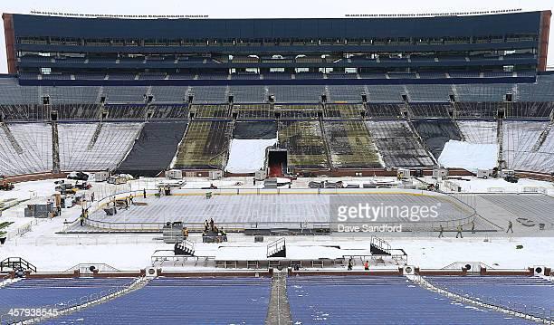A general view of the stadium during the 2014 Bridgestone NHL Winter Classic Buildout on December 19 2013 at Michigan Stadium in Ann Arbour Michigan
