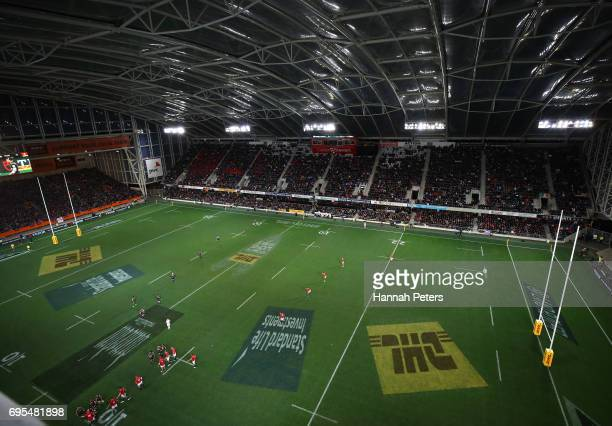 A general view of the stadium during the 2017 British Irish Lions tour match between the Highlanders and the British Irish Lions at the Forsyth Barr...