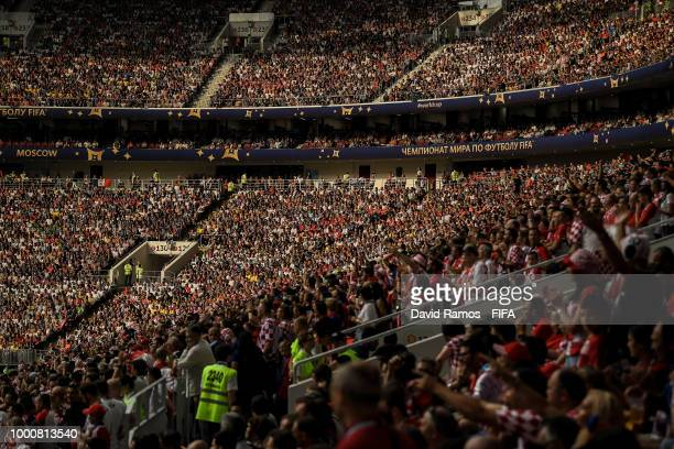 A general view of the stadium during the 2018 FIFA World Cup Russia Final between France and Croatia at Luzhniki Stadium on July 15 2018 in Moscow...