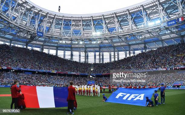 General view of the stadium during the 2018 FIFA World Cup Russia Quarter Final match between Uruguay and France at Nizhny Novgorod Stadium on July 6...