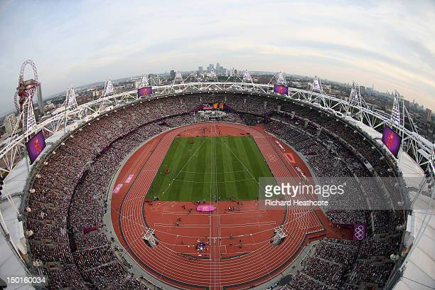 General view of the stadium during the athletics on Day 15 of the London 2012 Olympic Games at Olympic Stadium on August 11, 2012 in London, England.