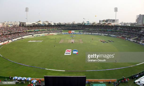 A general view of the stadium during the Bangladesh v India opening game of the ICC 2011 World Cup at ShereeBangla National Stadium on February 19...