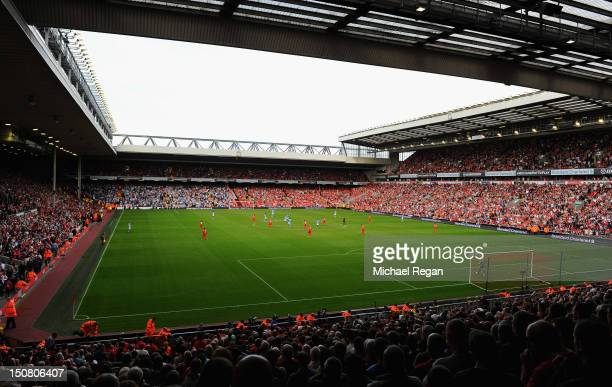 A general view of the stadium during the Barclays Premier League match between Liverpool and Manchester City at Anfield on August 26 2012 in...