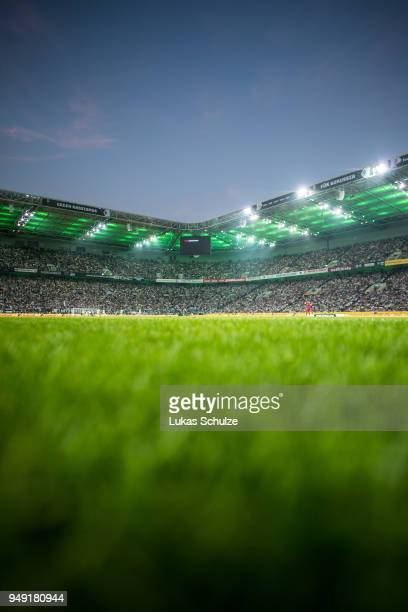General view of the stadium during the Bundesliga match between Borussia Moenchengladbach and VfL Wolfsburg at BorussiaPark on April 20 2018 in...