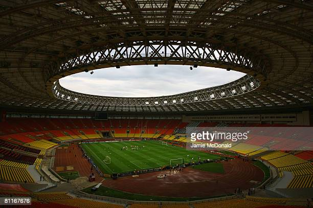 A general view of the stadium during the Chelsea training session ahead of the Champions League Final at the Luzhniki Stadium on May 20 2008 in...
