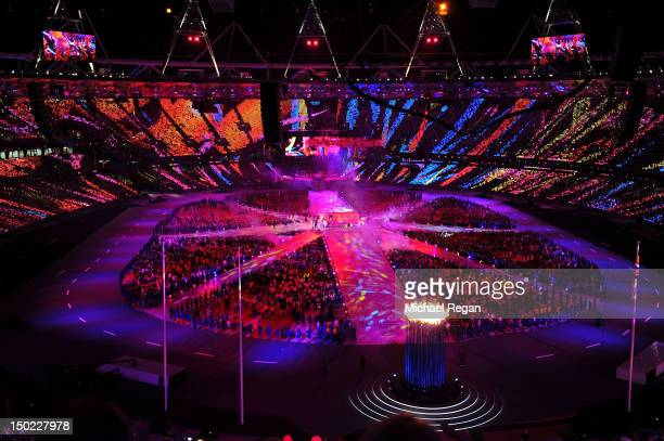 General view of the stadium during the Closing Ceremony on Day 16 of the London 2012 Olympic Games at Olympic Stadium on August 12, 2012 in London,...
