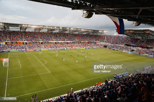 General view of the stadium during the CONCACAF Gold Cup game between El Salvador and Haiti at BBVA Compass Stadium on July 15, 2013 in Houston,...
