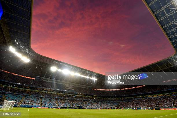 General view of the stadium during the Copa America Brazil 2019 group B match between Qatar and Argentina at Arena do Gremio on June 23, 2019 in...