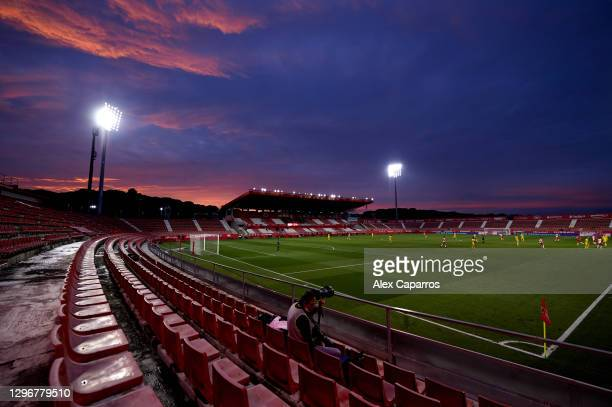 General view of the stadium during the Copa del Rey round of 32 match between Girona FC and Cadiz CF at Montilivi Stadium on January 16, 2021 in...