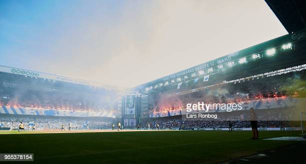 General view of the stadium during the Danish Alka Superliga match between FC Copenhagen and Brondby IF at Telia Parken Stadium on May 6 2018 in...