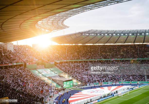 A general view of the stadium during the DFB Cup final between RB Leipzig and Bayern Muenchen at Olympiastadion on May 25 2019 in Berlin Germany