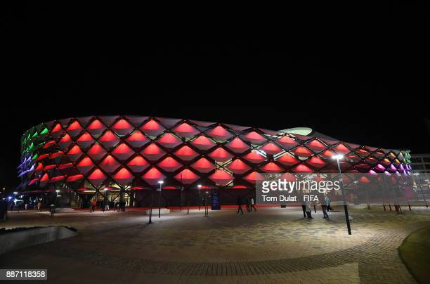 General view of the stadium during the FIFA Club World Cup UAE 2017 match between Al Jazira and Auckland City FC at Hazza bin Zayed Stadium on...