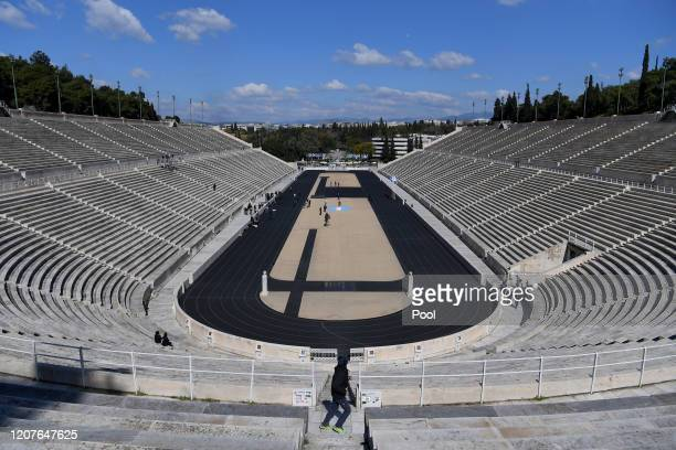 General view of the stadium during the Flame Handover Ceremony for the Tokyo 2020 Summer Olympics on March 19, 2020 in Athens, Greece. The ceremony...