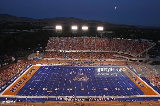A general view of the stadium during the game between the Boise State Broncos and the Bowling Green Falcons at Bronco Stadium on September 13 2008 in...