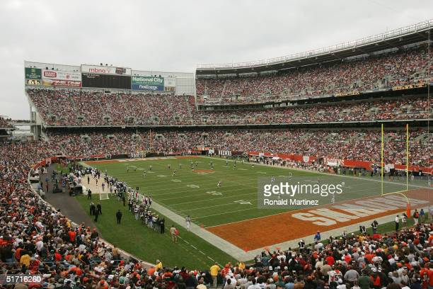 A general view of the stadium during the game between the Cleveland Browns and the Philadelphia Eagles on October 24 2004 at Cleveland Browns Stadium...