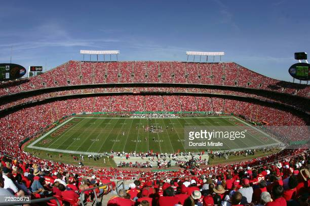 A general view of the stadium during the game between the Houston Texans and the Kansas City Chiefs at Arrowhead Stadium on September 26 2004 in...