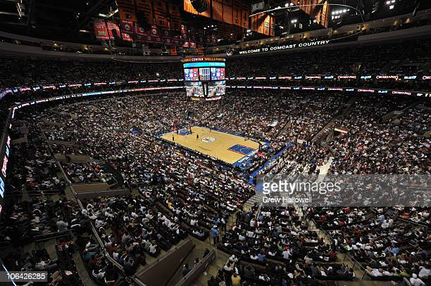A general view of the stadium during the game between the Miami Heat and Philadelphia 76ers at the Wells Fargo Center on October 27 2010 in...