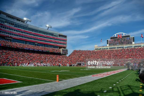 General view of the stadium during the game between the Nebraska Cornhuskers and the Wisconsin Badgers at Memorial Stadium on November 16, 2019 in...