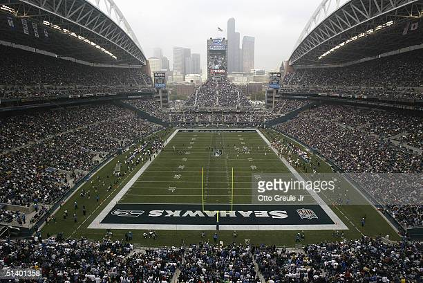A general view of the stadium during the game between the San Francisco 49ers and the Seattle Seahawks at Qwest Field on September 26 2004 in Seattle...