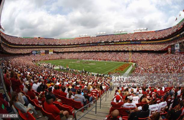 General view of the stadium during the game between the Tampa Bay Buccaneers and the Washington Redskins on September 12, 2004 at FedEx Field in...