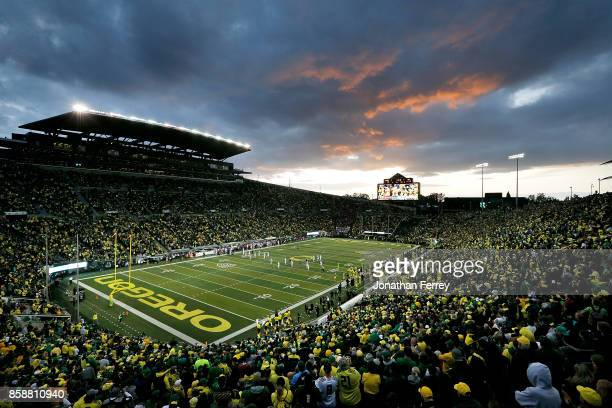 A general view of the stadium during the game between the Washington State Cougars and the Oregon Ducks at Autzen Stadium on October 7 2017 in Eugene...