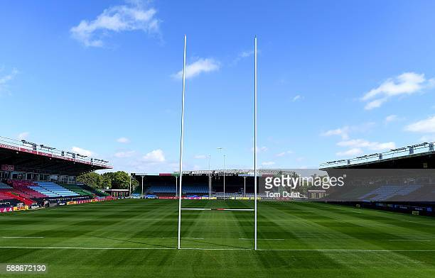 A general view of the stadium during the Harlequins squad photo call for the 20162017 Aviva Premiership Rugby season at Twickenham Stoop on August 12...