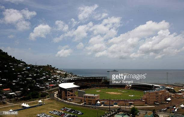 A general view of the stadium during the ICC Cricket World Cup 2007 Super Eight match between Australia and New Zealand at the Grenada National...