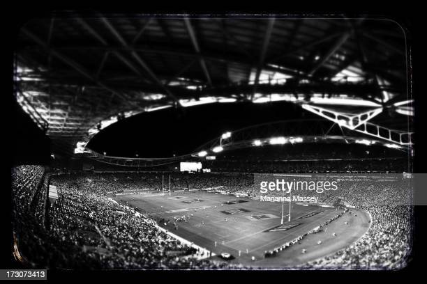 A general view of the stadium during the International Test match between the Australian Wallabies and the British Irish Lions at ANZ Stadium on July...