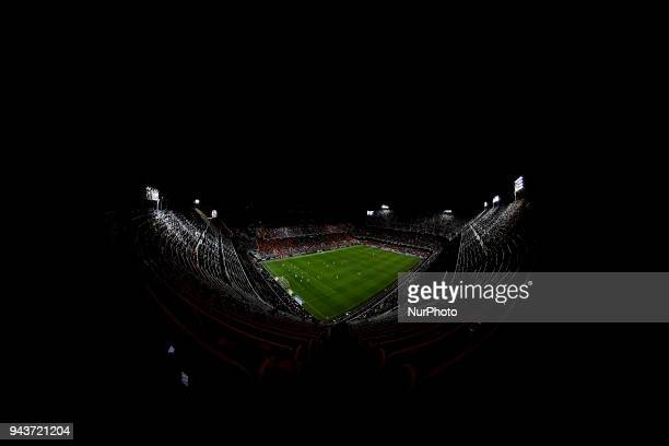 General view of the stadium during the La Liga game between Valencia CF and RCD Espanyol at Mestalla on April 8 2018 in Valencia Spain