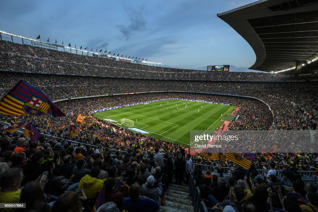 A general view of the stadium during the La Liga match between Barcelona and Real Madrid at Camp Nou on May 6, 2018 in Barcelona, Spain.