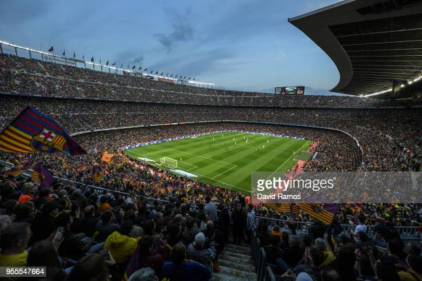A general view of the stadium during the La Liga match between Barcelona and Real Madrid at Camp Nou on May 6 2018 in Barcelona Spain