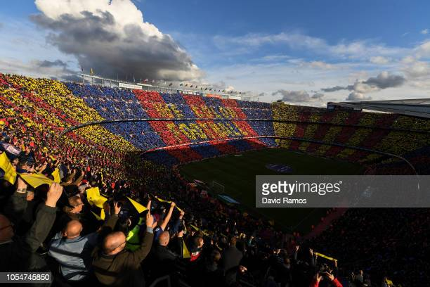 General view of the stadium during the La Liga match between FC Barcelona and Real Madrid CF at Camp Nou on October 28, 2018 in Barcelona, Spain.