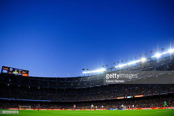 General view of the stadium during the La Liga match between FC Barcelona and Valencia CF at Camp Nou on April 17 2016 in Barcelona Spain
