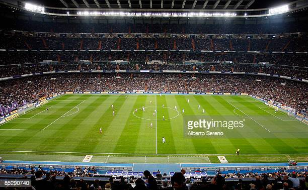 General view of the stadium during the La Liga match between Real Madrid and Atletico de Madrid at the Santiago Bernabeu stadium on March 7, 2009 in...