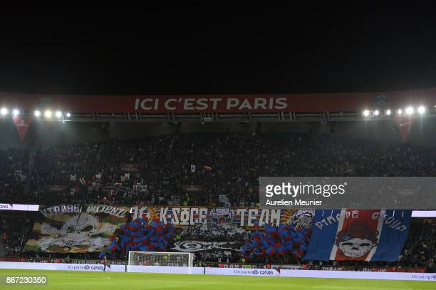 A general view of the stadium during the Ligue 1 match between Paris Saint Germain and OGC Nice at Parc des Princes on October 27 2017 in Paris France