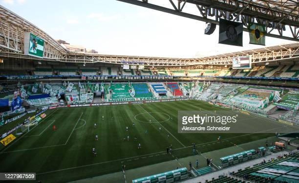 A general view of the stadium during the match between Corinthians and Palmeiras as part of the State Championship Final at Arena Corinthians on...