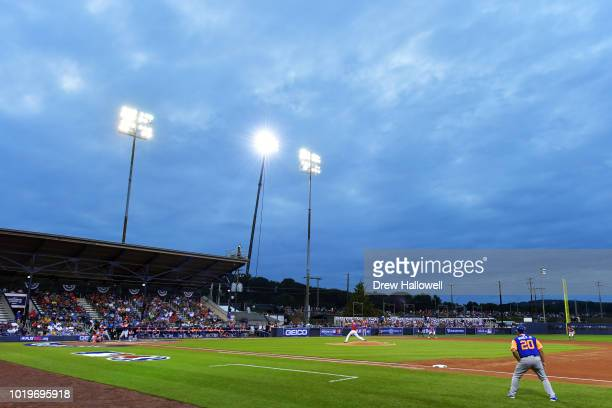 A general view of the stadium during the MLB Little League Classic between the New York Mets and Philadelphia Phillies at BBT Ballpark on August 19...
