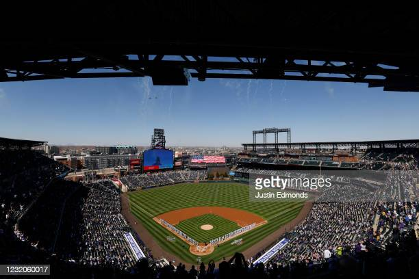 General view of the stadium during the National Anthem as fighter jets fly over the stadium before the Los Angeles Dodgers take on the Colorado...