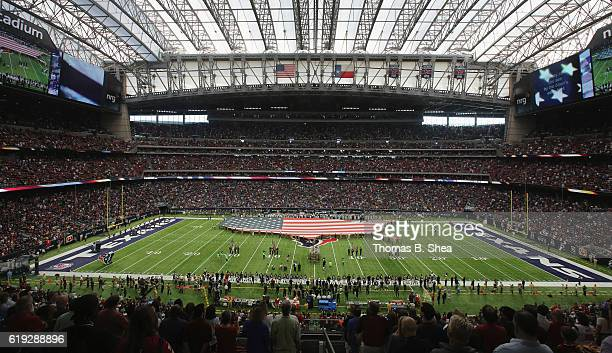 A general view of the stadium during the National Anthem before the game between the Houston Texans and the Detroit Lions at NRG Stadium on October...