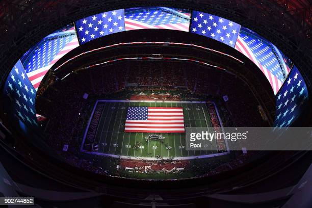 A general view of the stadium during the national anthem prior to the CFP National Championship presented by ATT between the Georgia Bulldogs and the...