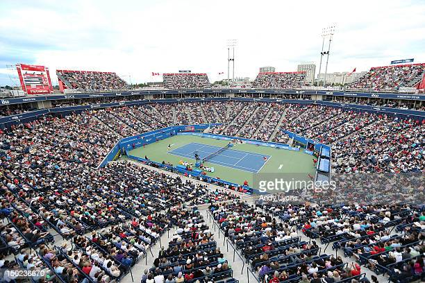 A general view of the stadium during the Novak Djokovic of Serbia 6362 victory over Richard Gasquet of France in finals of the Rogers Cup Presented...