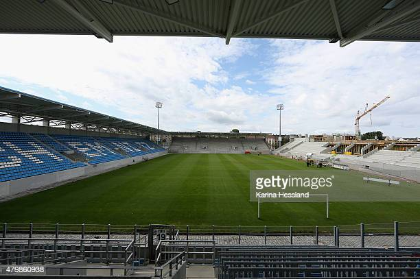 A general view of the stadium during the official team presentation of Chemnitzer FC at the Stadion an der Gellertstrasse on July 8 2015 in Chemnitz...